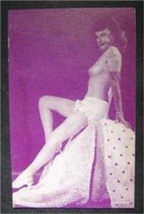 Arcade Exhibit Card 1940's Risque Girlie Pin-Up Purple Tint B