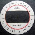 Cadaco All-Star Baseball Game Disk Ken Boyer 3rd Base