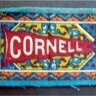 CORNELL UNIVERSITY B32 Felt Tobacco Blanket Pennant Style w Fringe 1910s Bl