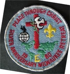 "1980 Silver Anniversary Milwaukee Retreat Religious Boy Scout BSA Patch 4"" Round"