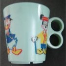 "Vintage 1960s Disney Mickey Mouse and Donald Duck Blue Plastic Cup 3 1/4"" Tall"