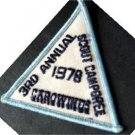 "1978 3rd Annual Scout Camporee Carowinds Boy Scout BSA Patch 3"" Triangle"