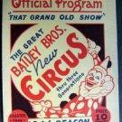 1946 The Great Bailey Bros New Circus Official Program Clown Cover Excellent