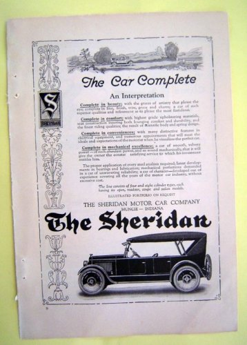 1930s Sheridan Car Magazine Tear Sheet Advertise Ad