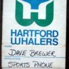 Harftord Whalers Defunct Hockey Team Media Pass