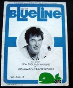 Blue Line WHA Hockey Magazine N Eng Whalers vs Indianapolis Racers Feb 15 1975