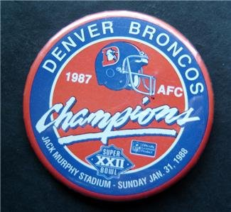Denver Broncos AFC Champions 1987 Super Bowl Football PIN 3 1/4""