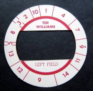 Cadaco All-Star Baseball Game Disk Ted Williams Left Field