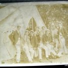 Early vintage photo group of young men gone Camping Tent Oil Lamp Forest