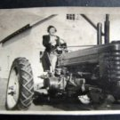 Vintage Real Photo of a Woman Driving a Tractor on a Farm in Connecticut