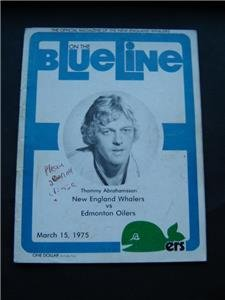 Blue Line WHA Hockey Magazine N Eng Whalers vs Edmonton Oilers March 15 1975