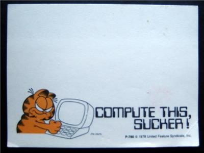 """Garfield the Catl Post It Notes """"Compute This Sucker!"""" 34 White Sheets Pad"""