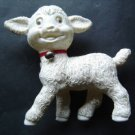 "White Lamb Plastic Squeak Squeeze Toy Red Collar and Bell  6 1/2"" Tall x 6"" Wide"
