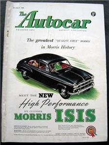 July 29 1955  Autocar Magazine Morris Isis ~Auto Racing ~Car Shows~Auto Articles