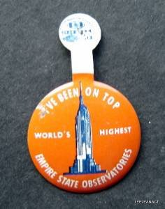 Vintage Empire State Building Observatories Tin Lapel Pin with Folding Tab NY
