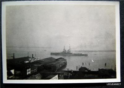 Early 1912 WWI Navy War Ship in Harbor of  Photo Charleston N C or Norfolk Va