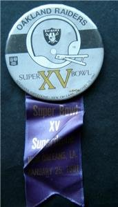 "Oakland Raiders Super Bowl XV Football PIN with Ribbon 1981 Superdome  3 1/4"""