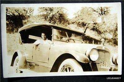 Early vtg photo young man sitting in an early Automobile Car Auto NY Lic Plate