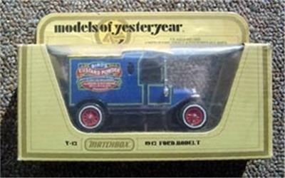 Matchbox Model Yesteryear 1912 Ford T Birds Custard Powder Car