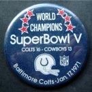 World Champions Super Bowl V 5 Football PIN Jan 17 1971 Colts vs Cowboys