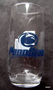 "Penn State University PSU Nittany Lions Clear Glass 16 oz Tumbler 6"" Tall"