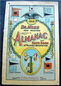 1918 Dr. Miles New Weather Almanac & Hand Book of Valuable Information