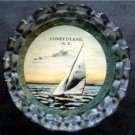 Coney Island Brooklyn NY Sail Boat Glass Ash Tray Trinket Dish or Paper Weight