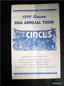 1959 Mill's Brothers Season 20th Annual Tour Circus Adv Program Booklet Ex
