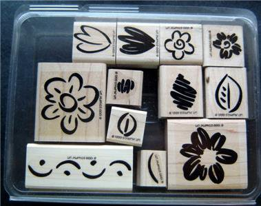 Stampin' Up! Fanciful Flowers Rubber Stamps Mounted Set of 12 Unused