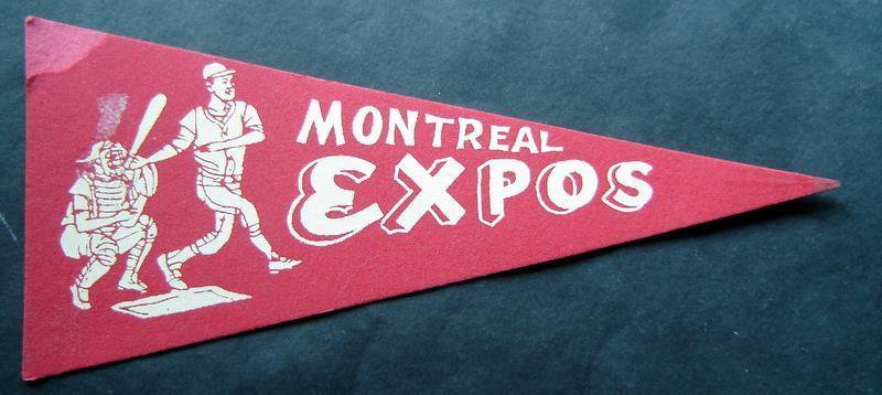 "Vintage Montreal Expos Red Mini Baseball Pennant 8 1/2"" x 4"" Old Logo"