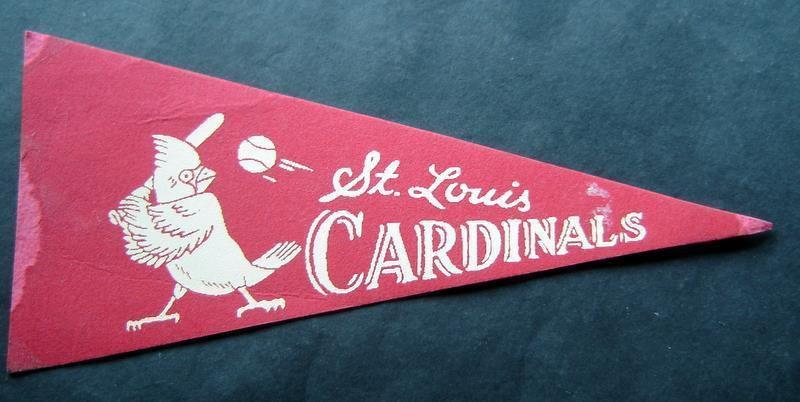"Vintage St Louis Cardinals Red Mini Baseball Pennant 8 1/2"" x 4"" Old Logo"