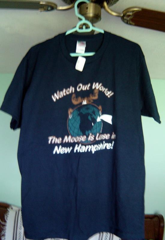 Vintage Moose Loose New Hampshire Navy Blue Tee T Shirt Size Large Unisex Tags