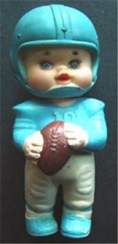 """Vintage 1971 Iwai Industrial Rubber Squeaker Blue and White Football 6"""""""