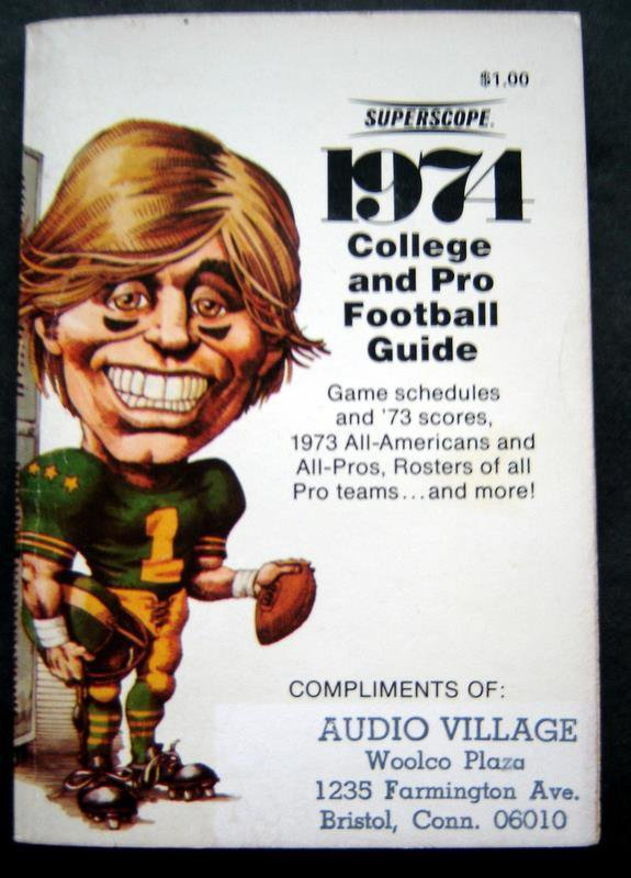 1974 Football Guide Booklet NFL & College Records Schedules Rosters Chart