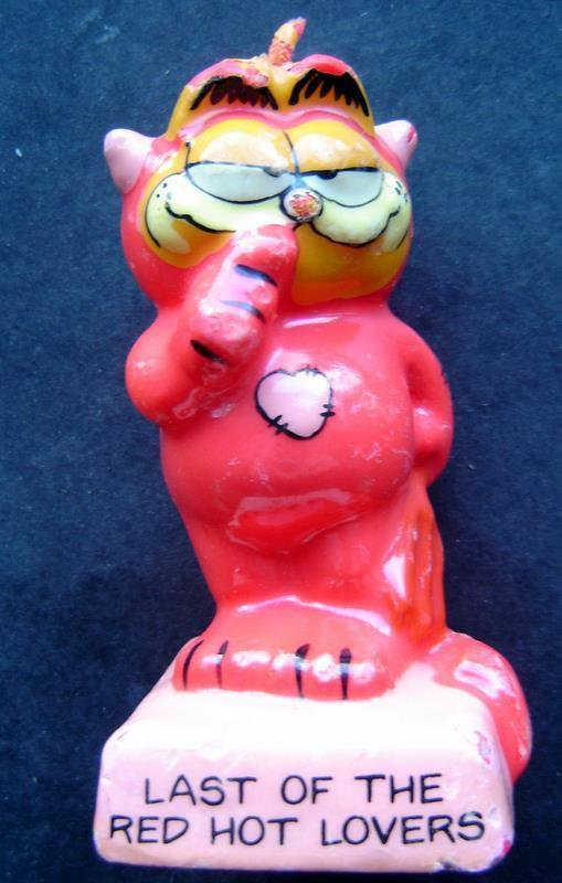 "Garfield Cat Devil Costume Candle ""Last of the Red Hot Lovers"" 3"" Tall"" Enesco"