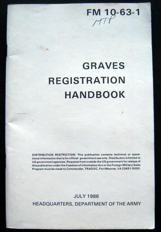 Graves Registration Handbook VG 1986 Military Softcover