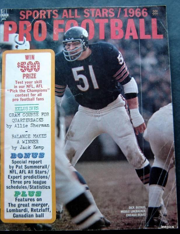 1966 Pro Football Sports All Stars Magazine Dick Butkus Chicago Bears Cover