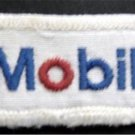 """White Mobil Cloth Patch with Mobil Name Logo 2"""" x 1"""" Rectangle"""