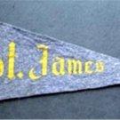 "Vintage St. James School Church Blue Felt Mini Pennant 8"" long"