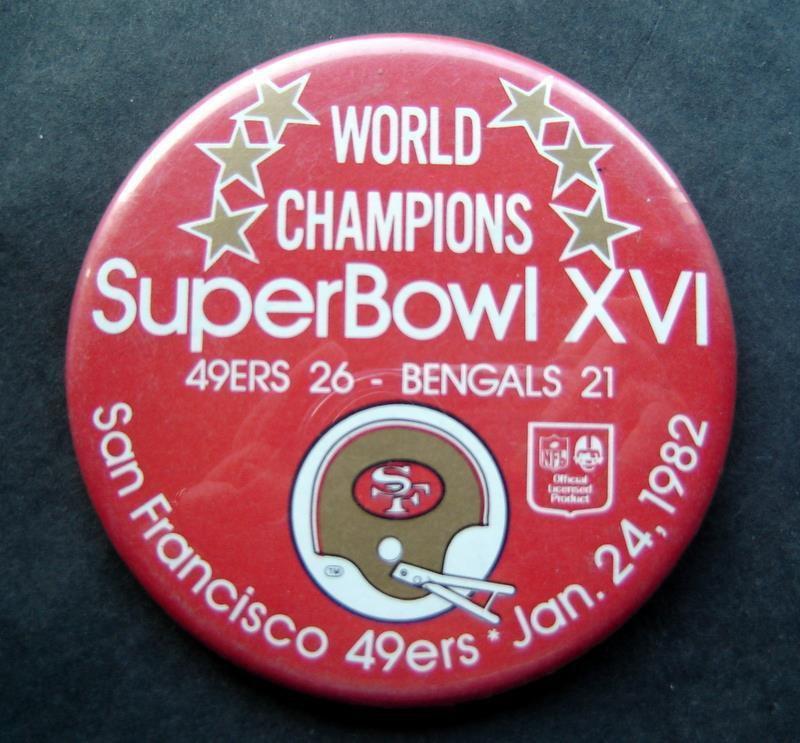 World Champions Super Bowl XVI 16 Football PIN Jan 24 1982 49ers vs Bengals