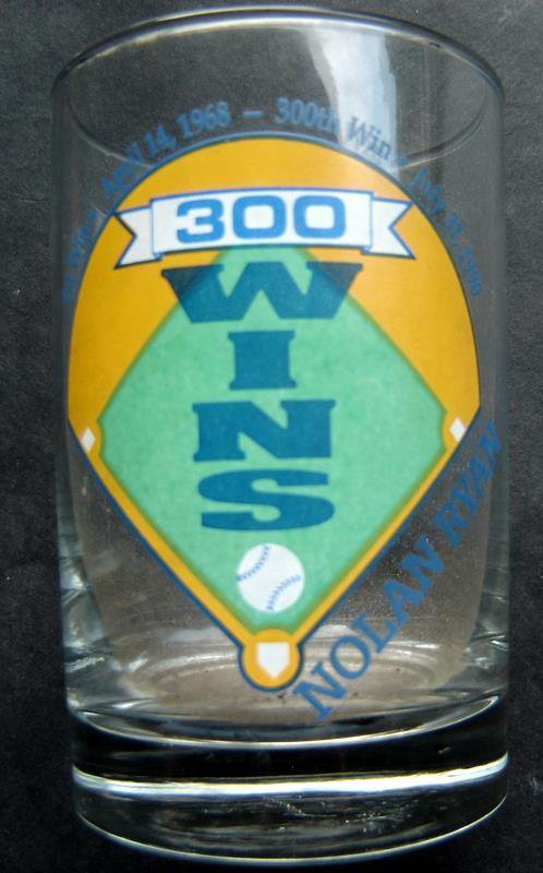 "Nolan Ryan Glass 300 Wins with Facsimilie Autograph 4 1/2"" Tall"