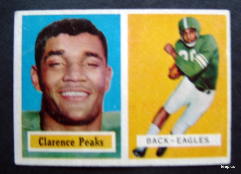 Original 1957 Topps Football Card Clarence Peaks Phil Eagles Back # 37 VG