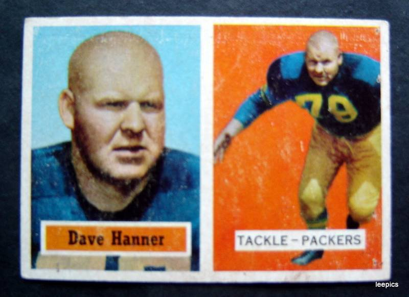 Original 1957 Topps Football Card Dave Hanner Green Bay Packers Tackle #21 VG