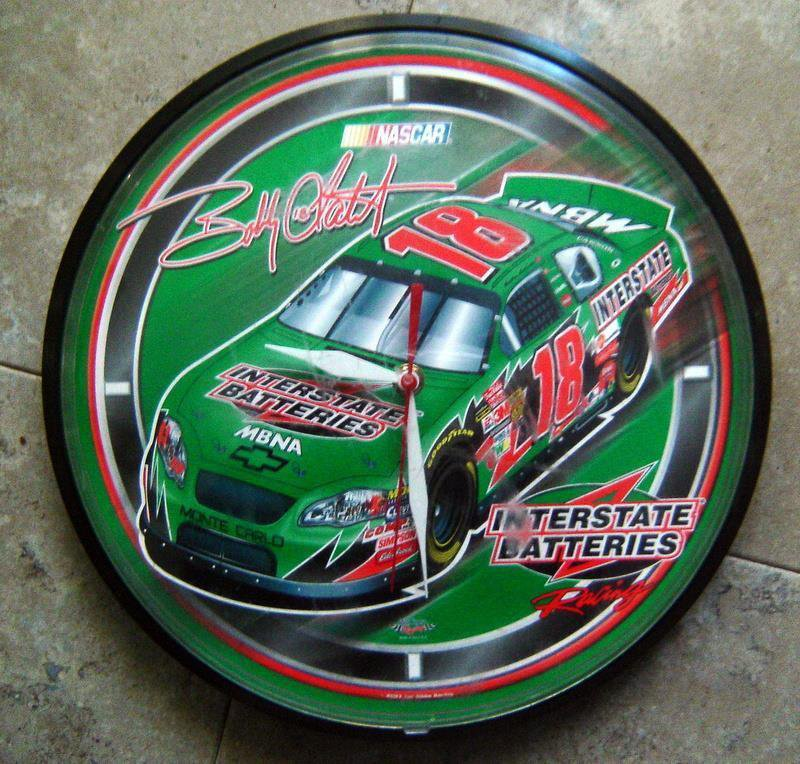 "Bobby LaBonte # 18 NASCAR 12"" Racing Wall Clock Battery Operated AA 2003"