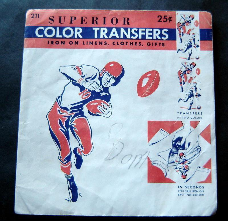 Vintage 1950's Superior Color Transfers Sports FB BB 211-25 in Envelope Unused