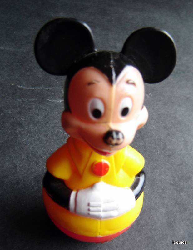 Vintage 1975  Mickey Mouse Walt Disney Rubber Roly Poly Childs Rattle Toy