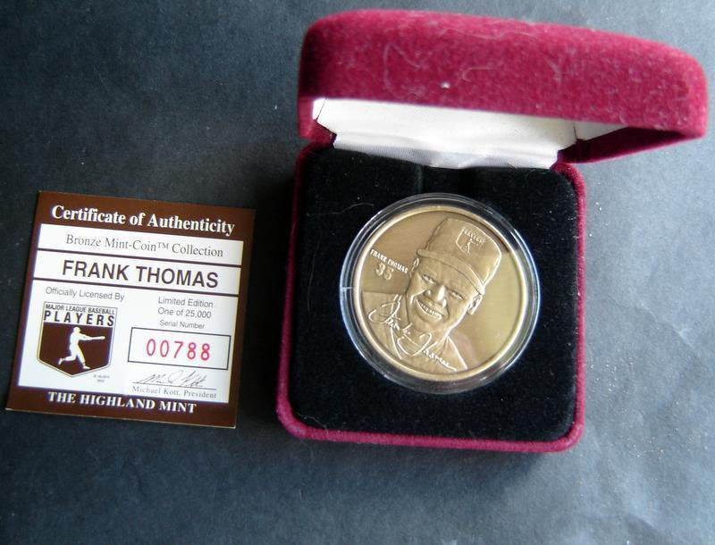 FRANK THOMAS Baseball Highland Mint Bronze Coin in Case COA # 00788 / 25000