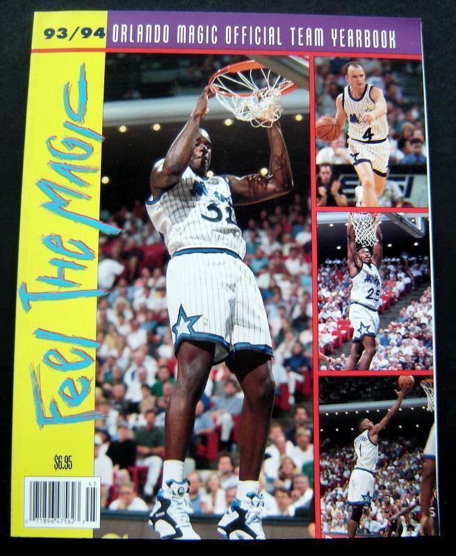 1993-94 Orlando Magic NBA Basketball Team Yearbook Shaquille O'Neal Hardaway