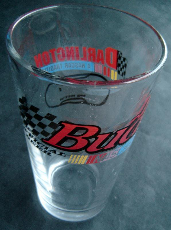 NASCAR Racing Darlington Bud Budweiser Official Beer Clear Glass Tumbler 5 3/4""