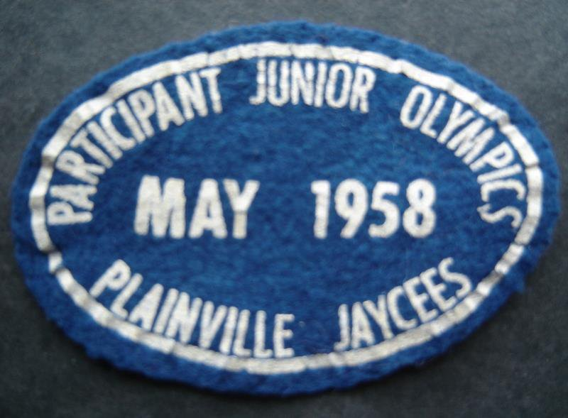May 1958 Participant Junior Olympics Plainville Ct Jaycees Oval Felt Cloth Patch